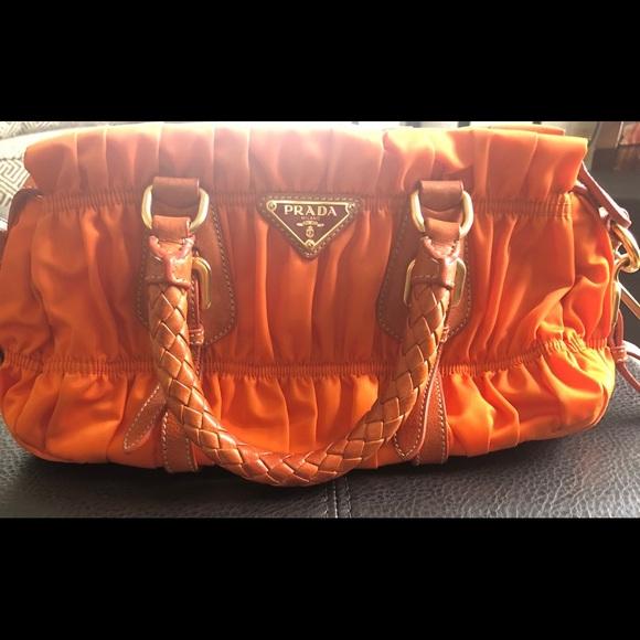 1d21f05f1f75 Prada Bags   Tessuto Gaufre Orange Nylon And Leather Satchel   Poshmark